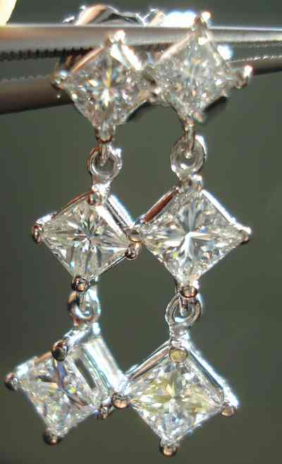 Sold Diamond Dangle Earrings 1 00ct Tw Princess Cut
