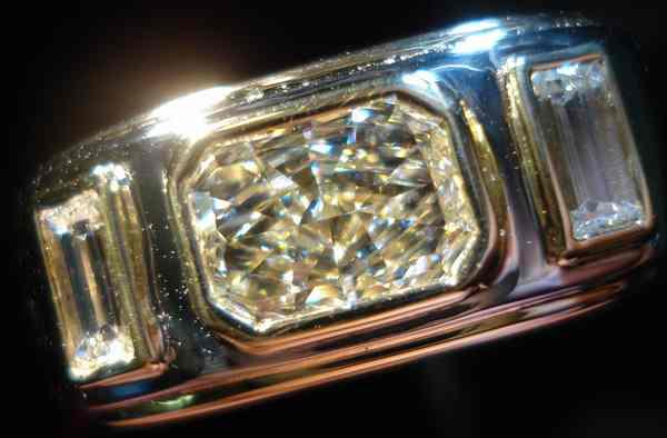 Light Yellow Diamond Men S Rings Platinum Radiant Cut