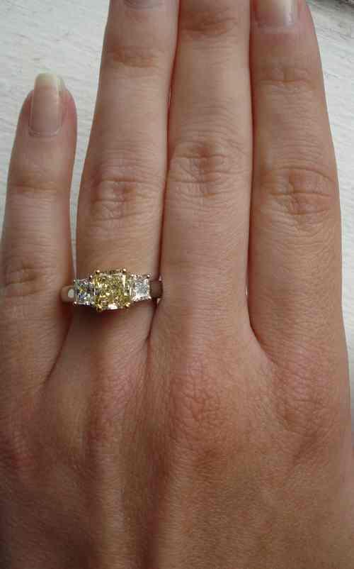 Gia 1 45ct Platinum And 18karat Yellow Gold 3 Stone