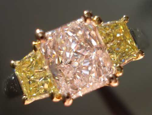 pink and yellow diamond ring