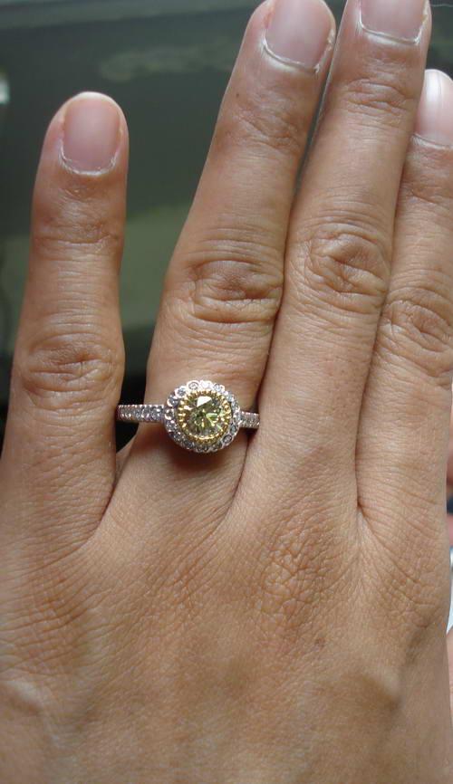 Yellow Round Diamond Halo Engagement Ring Rbc
