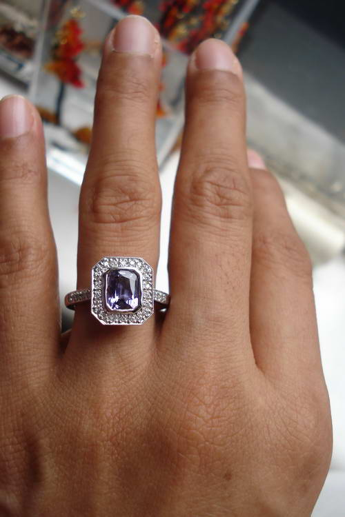 Purple Sapphire Halo Diamond Ring Right Hand Ring