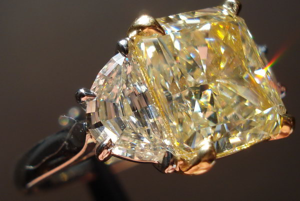 Yellow diamond engagement rings Radiant cut
