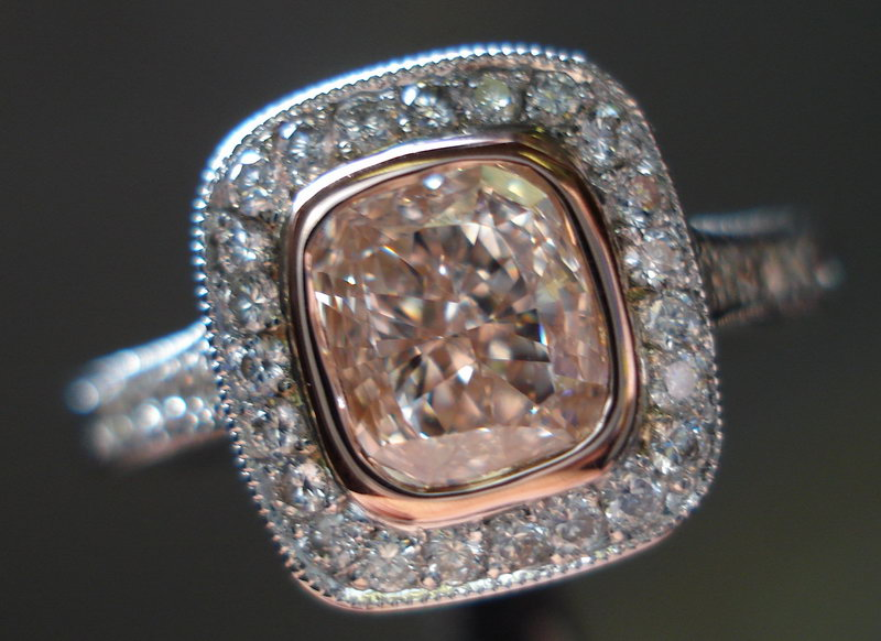 halo diamond ring from the side