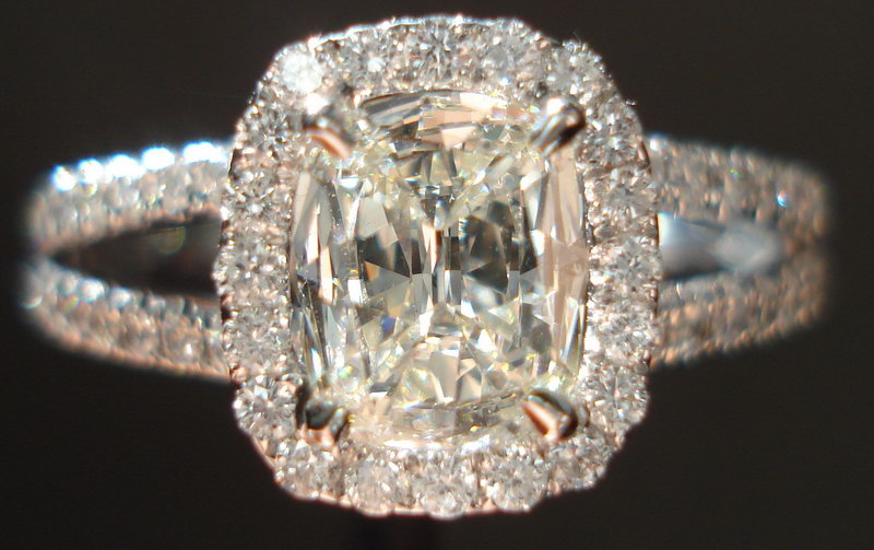 Halo Diamond Ring Henri Daussi Ring Bargain Engagement Ring