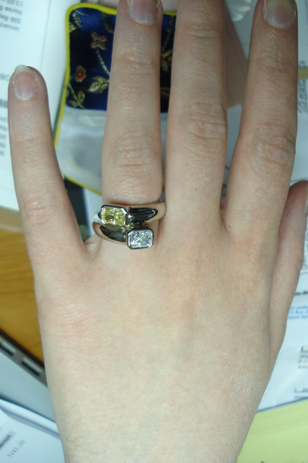canary diamond and white diamond bypass ring