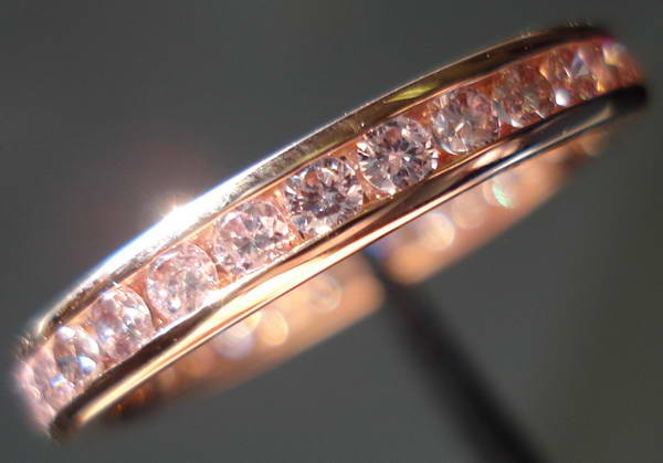 diamond wedding band pink gold with natural pink diamonds precision set so3290 - Pink Diamond Wedding Ring
