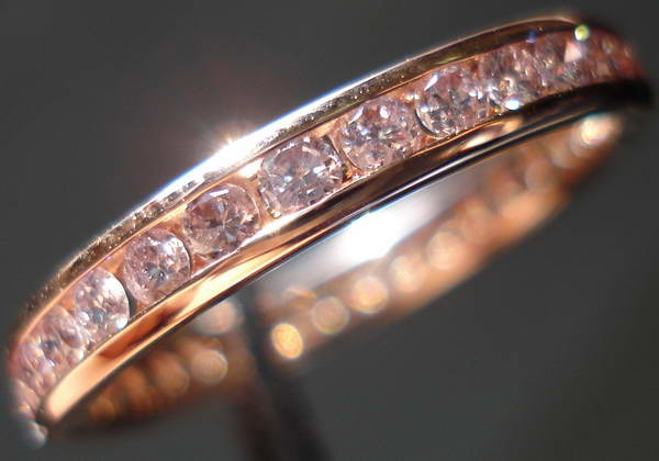 we can make them in virtually any size you may also choose to have us use larger diamonds please call us if interested - Pink Diamond Wedding Ring