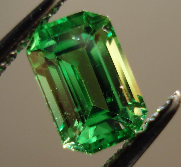 Three Stone Tsavorite Ring Emerald Cut Tsavorite Green