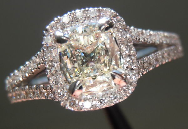 Halo diamond ring   Cushion cut halo diamond ring   Split Shank Ring