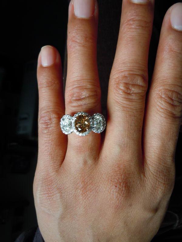 Three Stone Diamond Ring Oval Diamond Ring Platinum