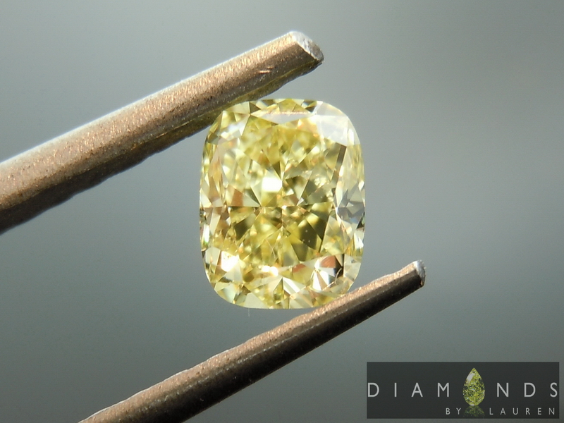 yellow cushion cut diamond