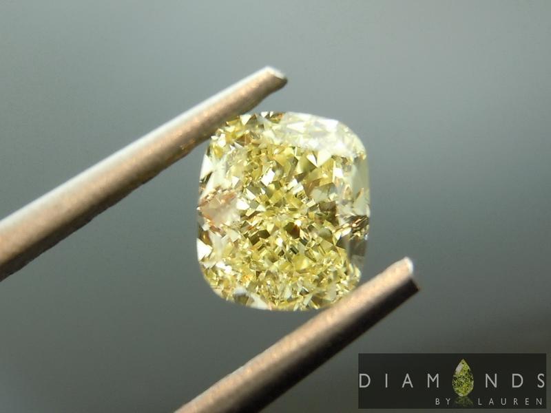 yellow cushion cut diamond