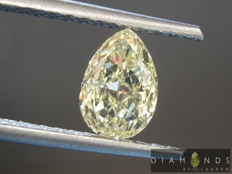 yellow pear shape cut diamond