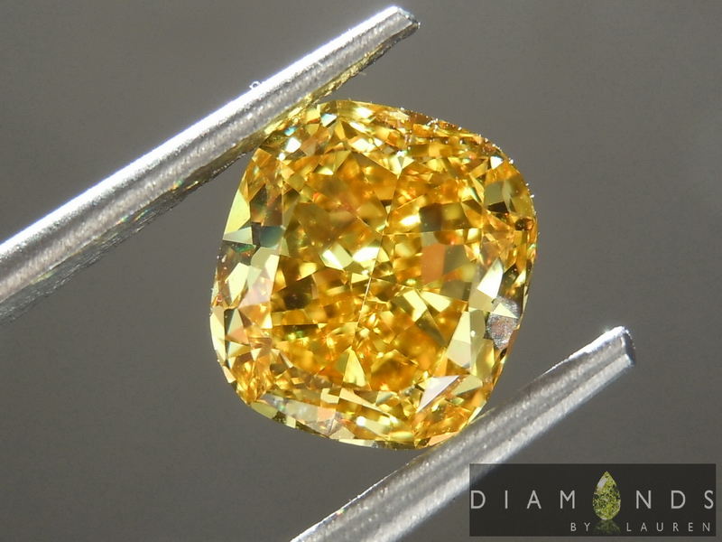 orange cushion cut diamond