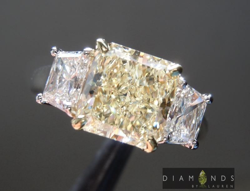 Yellow Diamond Ring Radiant Cut Diamond Ring Three