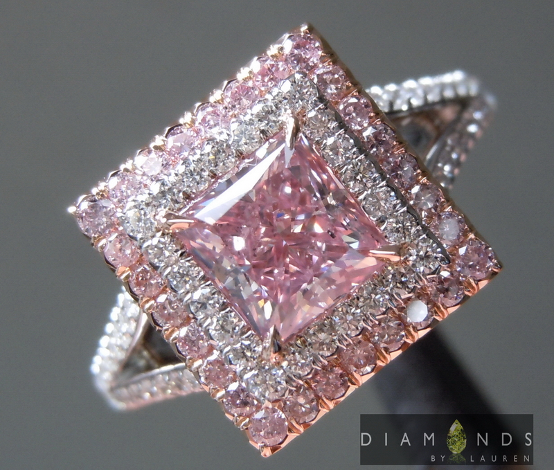 96ct Pink Princess Cut Diamond Ring
