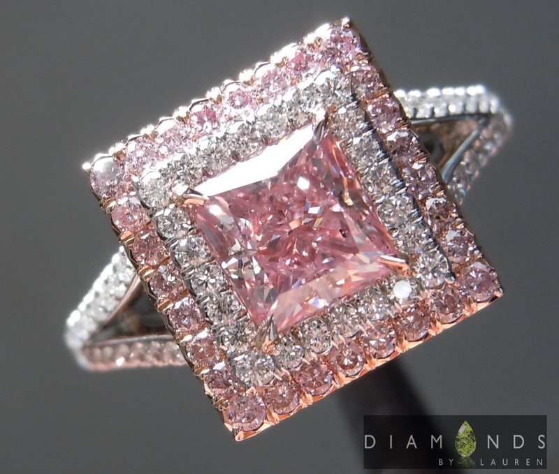 pink double halo diamond ring