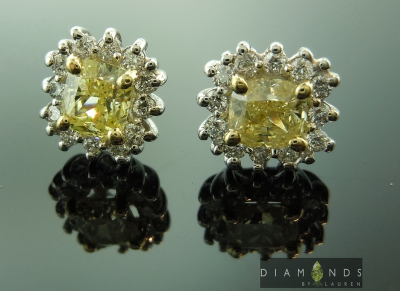 yellow diamond halo earrings - photo #42