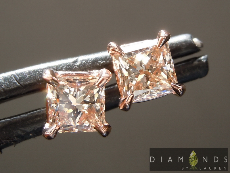 pink princess cut diamond earrings
