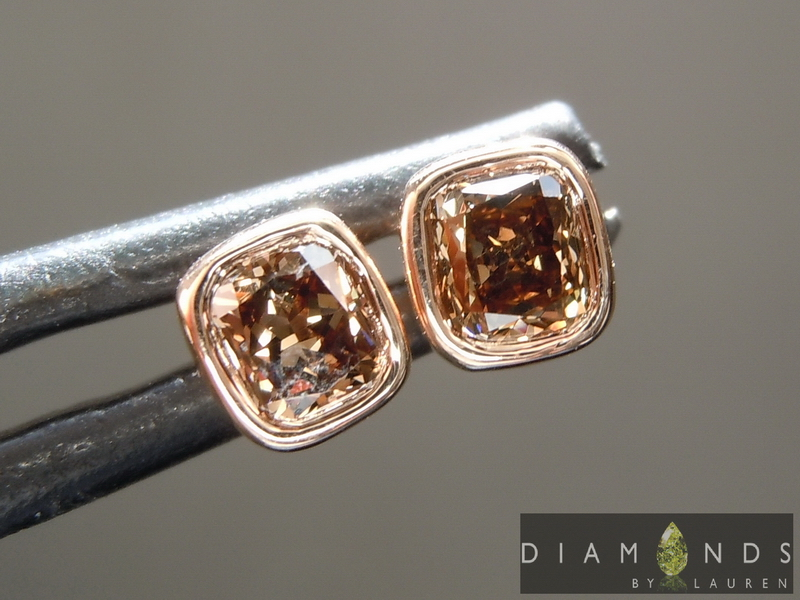 natrual brown diamond earrings