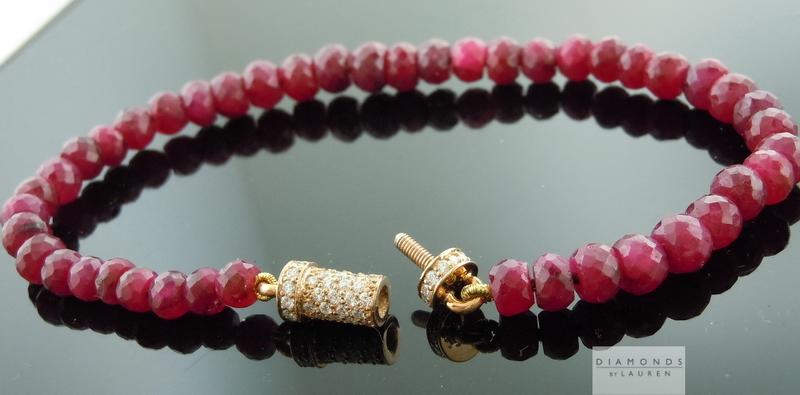 Diamond And Ruby Bracelet Bead