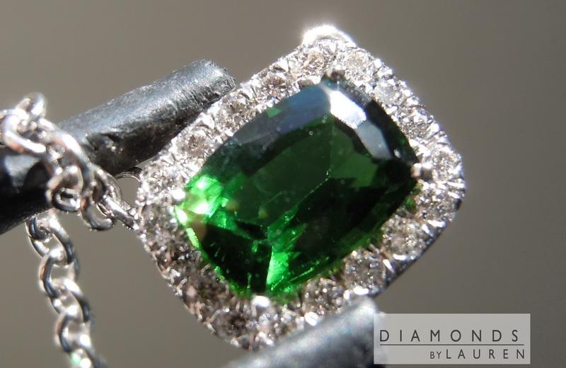 tourmaline and diamond halo pendant