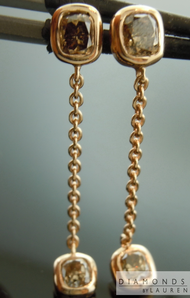 pink gold diamond earrings