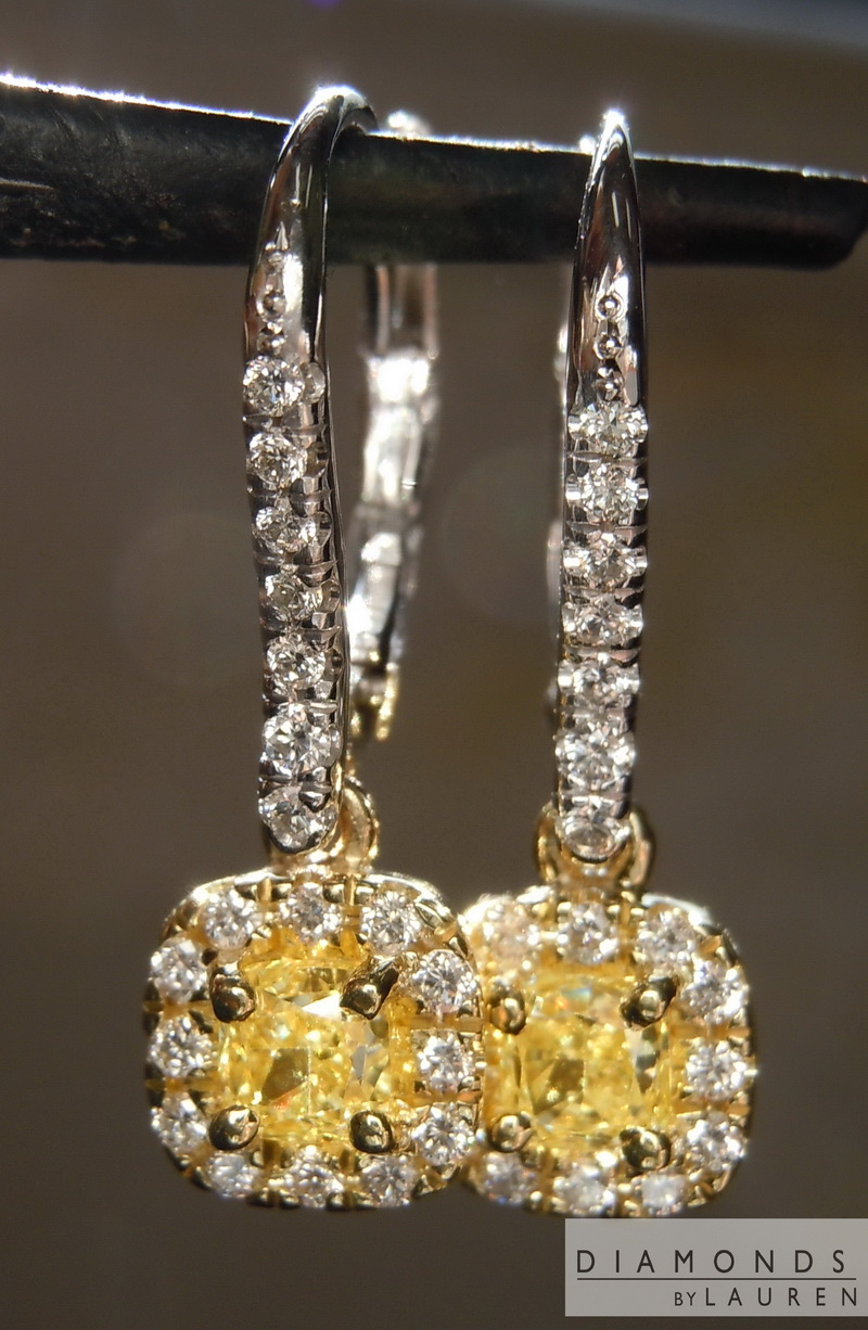 yellow diamond halo earrings - photo #20