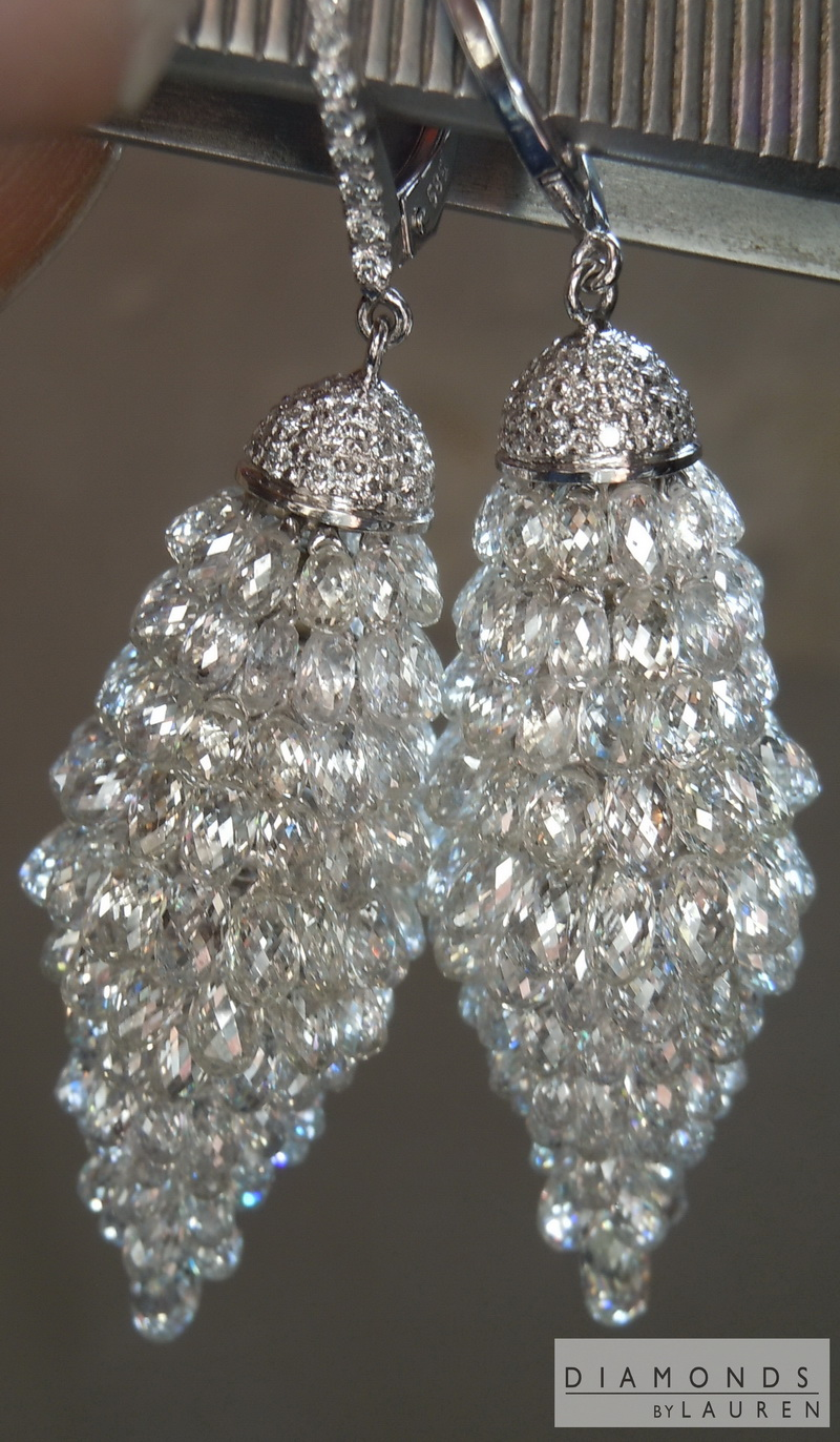 colorless briolette diamond earrings