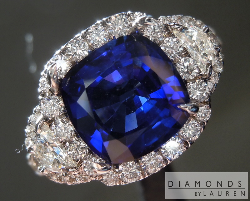 blue ct gia g appraisal ring vivid sapphire cushion ii cut platinum ceylon certified