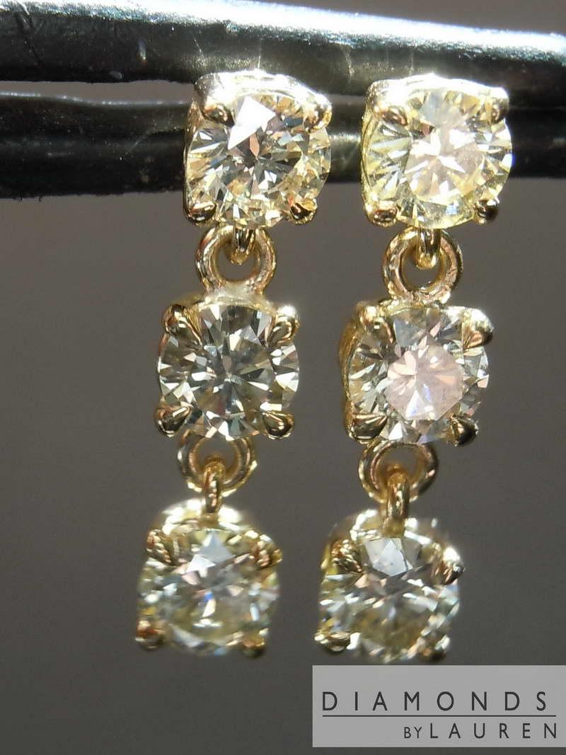 1 16ctw Yellow Round Diamond Earrings