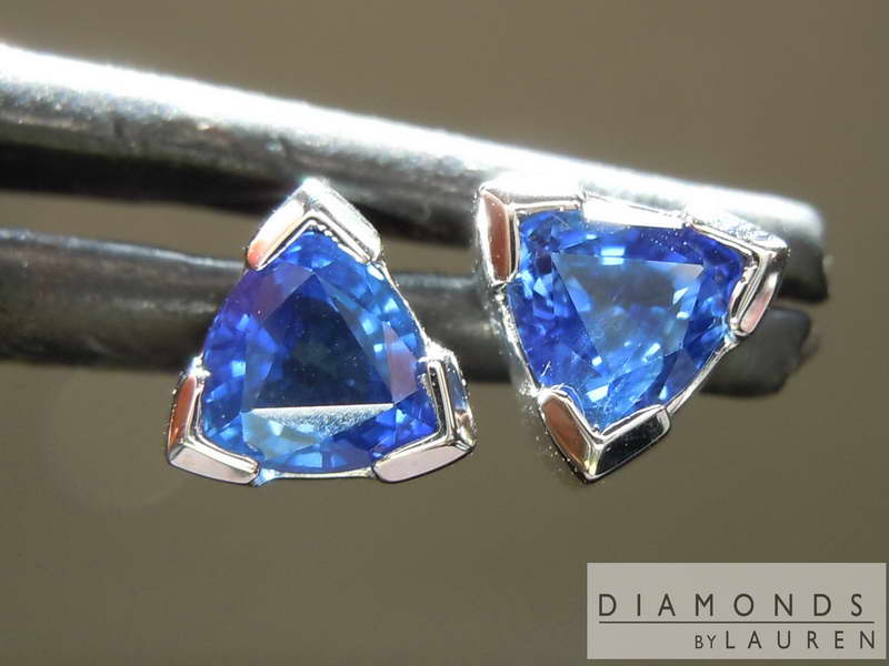 trilliant sapphire earrings