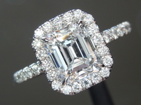Diamond Ring: 1.14ct E VVS2 Emerald Cut Diamond Halo Ring GIA R1958