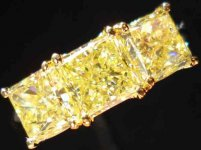 SOLD....Diamond Wedding Band: Massive 3.07carat Fancy Yellow Radiant Band 3 GIA Reports R2137