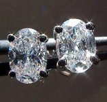 SOLD....Diamond Earrings: 1.07ct Total Weight Oval Studs R986