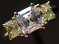 SOLD.....Three Stone Diamond Ring:.93ct Asscher-natural yellow side radiant Sam Spade Special R2276