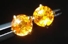 SOLD...Sapphire Stud Earrings: 1.50 CTW Amber Round Brilliant Sapphire R2264