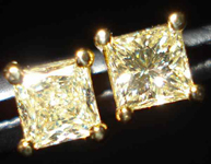 SOLD....Diamond Earrings: .64ct TW Princess Cut Diamond Studs in luscious Yellow R2026
