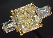 SOLD....Three Diamond Ring: 1.76 Light Yellow Radiant Trade Up Special R1502