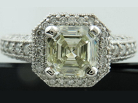 Halo Diamond Ring:1.59ct Asscher Cut Diamond LSI1 GIA  Beautiful Cut with a Four Step Top R2437
