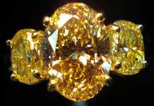 SOLD....Three Stone Diamond Ring:2.50ct Deep Brownish Yellow Oval GIA Lemone Yellow Side diamonds R2486