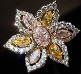 Halo Pink and Yellow Diamond Ring: 1.14 VVS PINK Oval Diamond in UBER Pink Yellow Flower GIA R1340