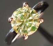 Solitaire Diamond Ring 1.22ct Fancy Brownish Yellow GIA Round Brilliant Diamond Pink and white Gold R2354