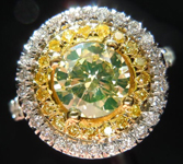 SOLD....Diamond Halo Ring: .91 Fancy Light Greenish Yellow Round Diamond VS1 GIA  Double Halo R2347