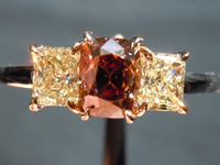 SOLD....Three Stone Ring:.63ct Cushion Cut Fancy Deep Orangy Brown VS2 Radiant Side Stones R2554