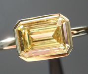 Yellow Diamond Ring: .82ct Fancy Yellow SI1 Emerald Cut GIA Bezel Set R2647