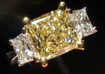 SOLD......Three Stone Diamond Ring: 2.15ct W-X Light Yellow Princess Radiant Diamond with Trapezoids R2668