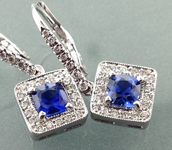 Sapphire Earrings: 1.29ct Cushion Blue Sapphire Studs 18kt White Gold Halo R2636