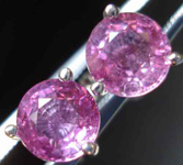 SOLD....Natural Pink Sapphire Earrings:   1.35 TCW Round Pink Sapphires 3-Prong Martini Set Earrings R2684